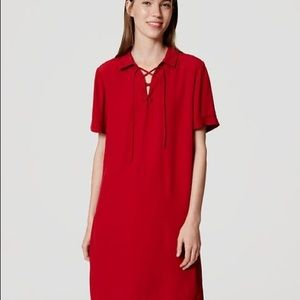 NWT! LOFT Red lace up neck dress size small